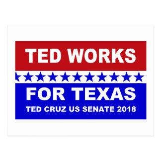 Ted trabalha para o cartão branco de Texas e azul