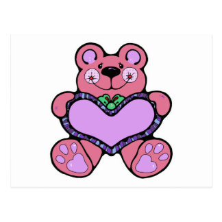 teddybear bonito com design do coração cartão postal