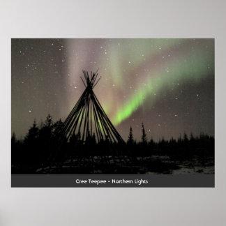 Teepee do Cree - aurora boreal Poster