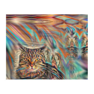 Tela De Madeira À deriva no gato tropical do por do sol das cores