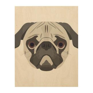 Tela De Madeira A ilustração persegue o Pug da cara