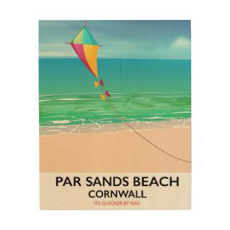 Tela De Madeira A paridade lixa o poster de viagens da praia de