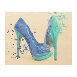 Tela De Madeira Aguarela azul do encanto da forma dos calçados