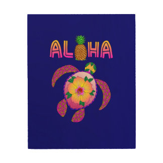 Tela De Madeira Aloha tartaruga havaiana de Honu