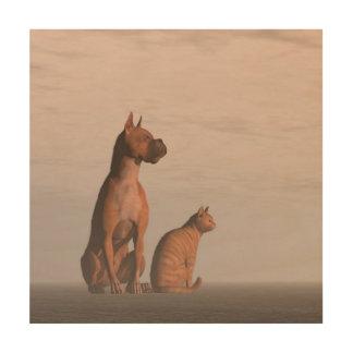 Tela De Madeira Amizade do cão e gato