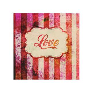 Tela De Madeira Amor cor-de-rosa com listras