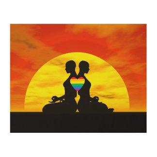 Tela De Madeira Amor lésbica da ioga - 3D rendem