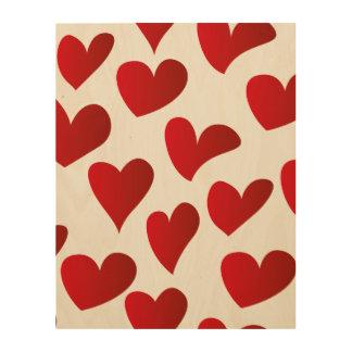 Tela De Madeira Amor vermelho pintado teste padrão do coração da