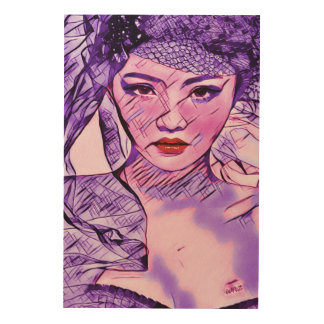 Tela De Madeira Arte asiática do retrato da aguarela do abstrato