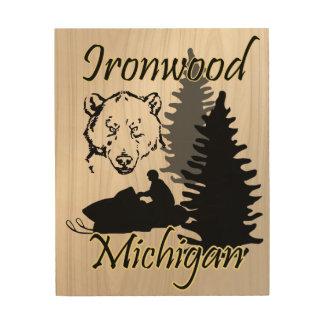 Tela De Madeira Arte da madeira do urso do Snowmobile de Michigan