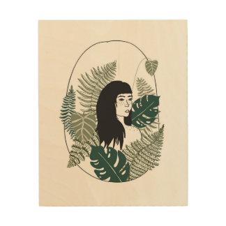 Tela De Madeira Arte de madeira da parede da menina da planta