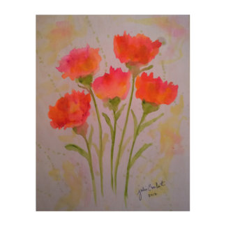 Tela De Madeira Arte de madeira da parede de 5 flores vívidas da