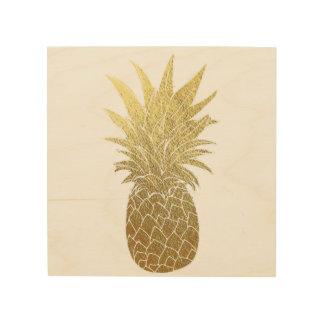 Tela De Madeira Arte de madeira da parede do abacaxi do ouro