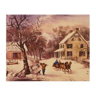 Tela De Madeira Arte de madeira da parede do inverno americano da