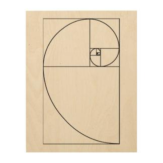 Tela De Madeira Arte de madeira espiral do painel de Fibonacci
