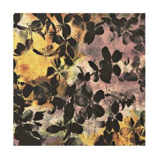 Tela De Madeira Arte digital floral cor-de-rosa amarela do teste