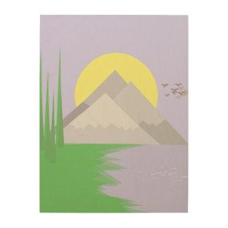 Tela De Madeira As montanhas e o lago, com árvores imprimem