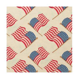 Tela De Madeira Bandeira americana 4o do azul branco vermelho de