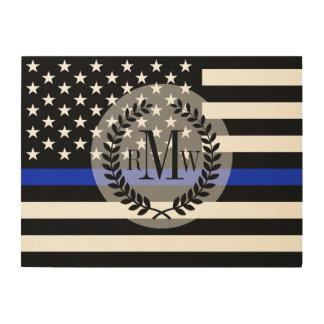 Tela De Madeira Bandeira americana denominada polícia