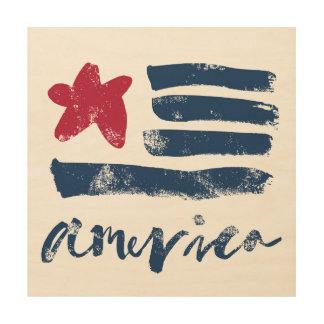 Tela De Madeira Bandeira americana Paintstrokes