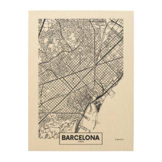 Tela De Madeira Barcelona, mapa da cidade da espanha |