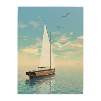 Tela De Madeira Barco de navigação - 3D rendem