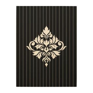 Tela De Madeira Branco do design do damasco do Flourish em listras