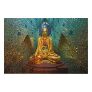 Tela De Madeira Buddha na alcova ornamentado