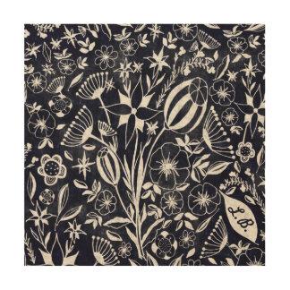 Tela De Madeira Buquê floral do índigo - iniciais personalizadas