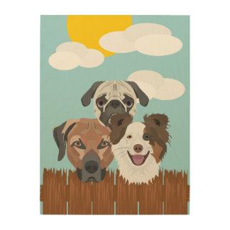 Tela De Madeira Cães afortunados da ilustração em uma cerca de