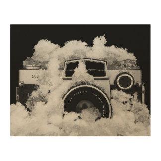 Tela De Madeira Câmera preto e branco do vintage na neve