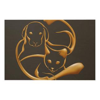 Tela De Madeira Cão dourado do gato