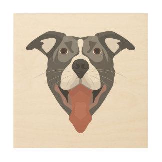 Tela De Madeira Cão Pitbull de sorriso da ilustração