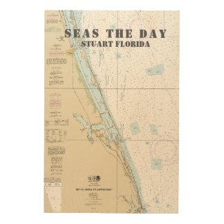 Tela De Madeira Carta náutica conhecida Stuart Florida do barco