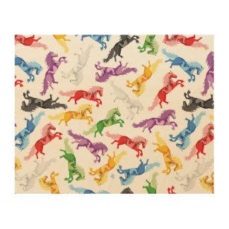 Tela De Madeira Cavalos de salto coloridos do teste padrão