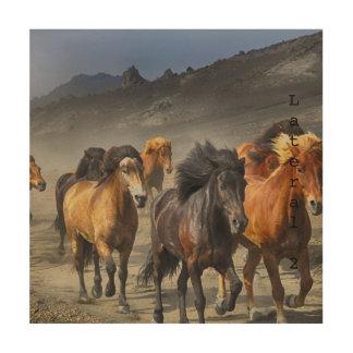Tela De Madeira Cavalos selvagens