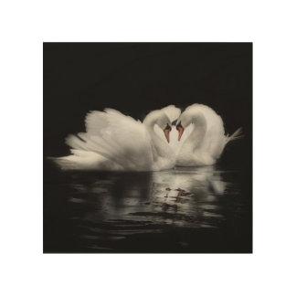 Tela De Madeira Cisnes na imagem do amor
