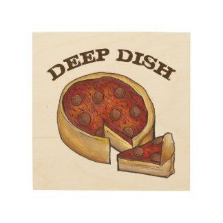 Tela De Madeira Comida profunda da cozinha da pizza de Pepperoni