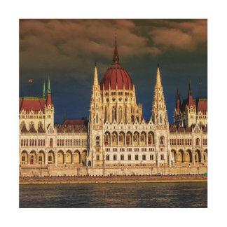 Tela De Madeira Construção húngara do parlamento em Budapest,