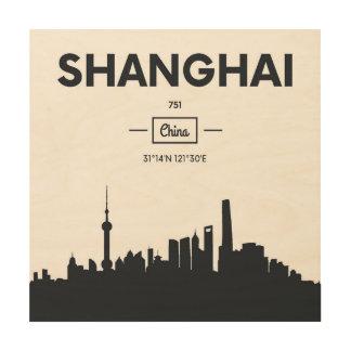 Tela De Madeira Coordenadas da cidade de Shanghai, China |