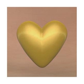 Tela De Madeira Coração dourado - 3D rendem