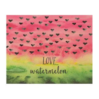 Tela De Madeira Corações da melancia do amor da aguarela