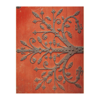 Tela De Madeira Decalque vermelho da árvore do ferro forjado da