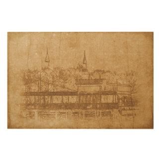 Tela De Madeira Desenho do vintage do minarete