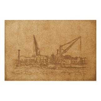 Tela De Madeira Desenho do vintage do porto marítimo