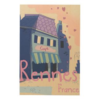 Tela De Madeira Desenhos animados do vintage de Rennes France