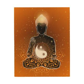 Tela De Madeira Design de Ying Yang da meditação de Buddha