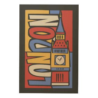 Tela De Madeira Design vibrante de Londres, Inglaterra | Handrawn