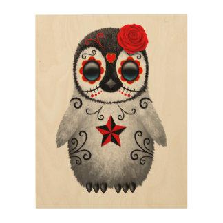 Tela De Madeira Dia vermelho do pinguim inoperante do bebê