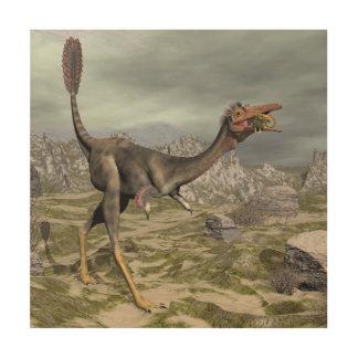 Tela De Madeira Dinossauro de Mononykus no deserto - 3D rendem